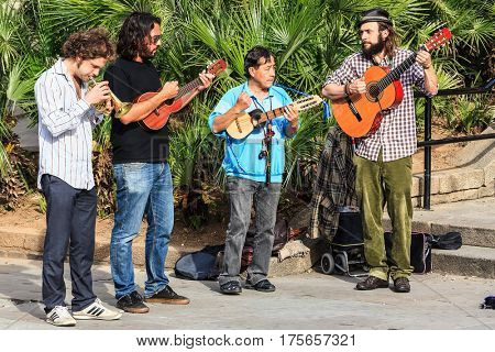 BARCELONA, SPAIN - APRIL 16, 2013: Street band on the street of Barcelona