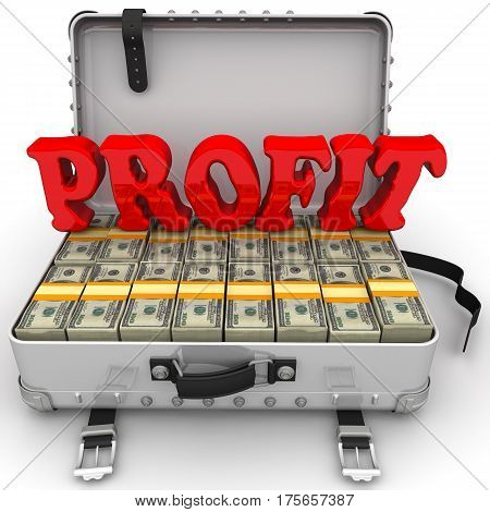 Profit. Suitcase full of money. A suitcase filled with packs of US dollars and red word
