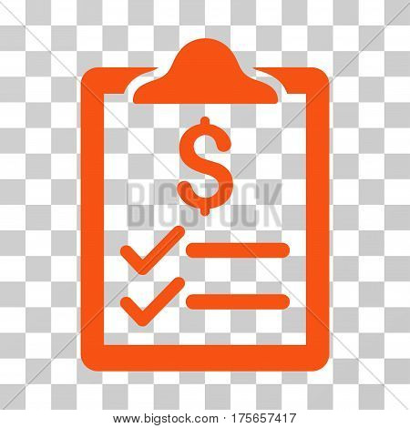 Invoice Pad icon. Vector illustration style is flat iconic symbol, orange color, transparent background. Designed for web and software interfaces.