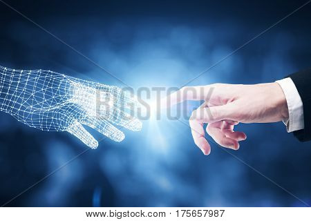 Touching fingers of real and digital businessmen on blurry blue city background. Close up. Future concept