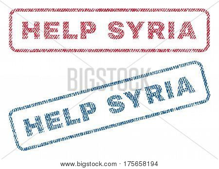 Help Syria text textile seal stamp watermarks. Blue, red fabric vectorized texture. Vector caption inside rounded rectangular banner. Rubber sticker with fiber textile structure.