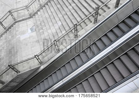 outdoor escalator And the stairs