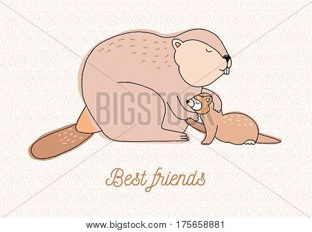 Best friends card. colorful hand drawn illustration with weasel and beaver.