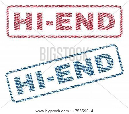 Hi-End text textile seal stamp watermarks. Blue, red fabric vectorized texture. Vector tag inside rounded rectangular banner. Rubber emblem with fiber textile structure.