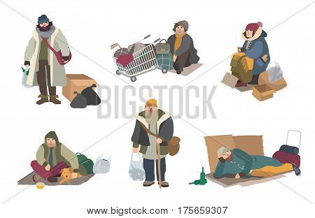 cartoon flat characters set illustration. Homeless people.