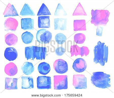 Set of watercolor stains of rose quartz color. Pink, blue. rose quartz, serenity. Swabs are suitable for advertising banners, logos, backgrounds for postcard, poster, coupon, certificates and sale.