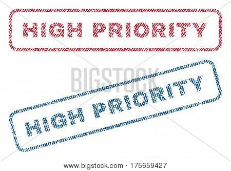 High Priority text textile seal stamp watermarks. Blue, red fabric vectorized texture. Vector tag inside rounded rectangular shape. Rubber emblem with fiber textile structure.