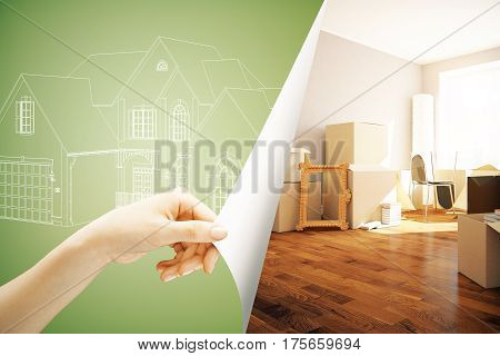 Female hand flipping abstract green paper with house sketch revealing new interior design. Real estate concept. 3D Rendering