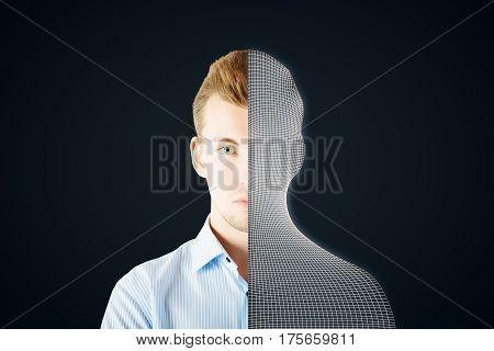 Abstract half man half grid creature on dark background. Modern robotics concept