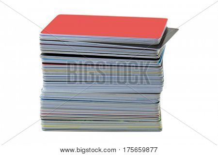 Soft focus of stack of plastic ID card, Credit cart, shopping cards isolated on white background