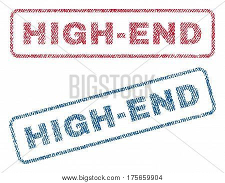 High-End text textile seal stamp watermarks. Blue, red fabric vectorized texture. Vector tag inside rounded rectangular banner. Rubber emblem with fiber textile structure.