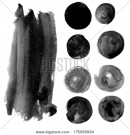 Set of watercolor spots in grimy grey Ink banners, suitable for stickers, labels, badges, advertising, ads, logo, frames with text and boxes. Dirty Textures painted with hands, brush strokes. Isolated