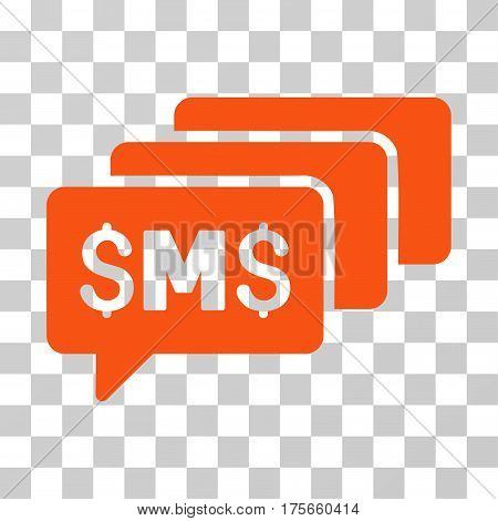 SMS Messages icon. Vector illustration style is flat iconic symbol, orange color, transparent background. Designed for web and software interfaces.