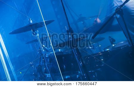 Blue Musical Photo Background, Rock Drums