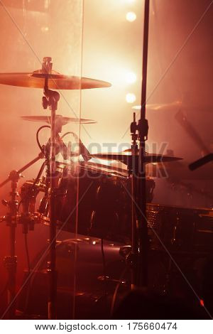 Live Rock Music Background, Rock Drum Set