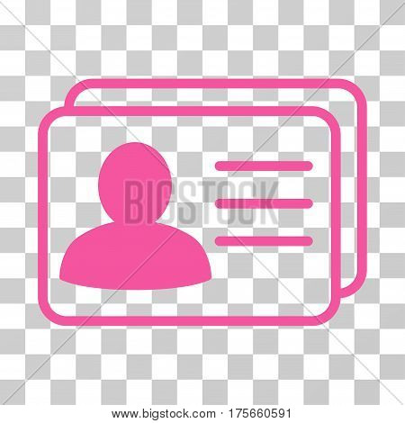 Account Cards icon. Vector illustration style is flat iconic symbol, pink color, transparent background. Designed for web and software interfaces.
