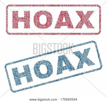 Hoax text textile seal stamp watermarks. Blue, red fabric vectorized texture. Vector tag inside rounded rectangular shape. Rubber sign with fiber textile structure.