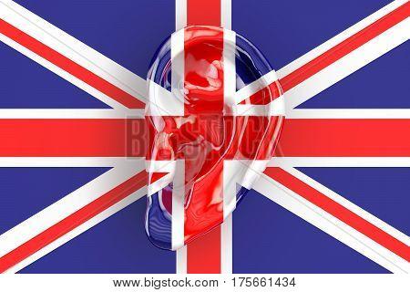 British intelligence concept ear on the UK flag. 3D rendering