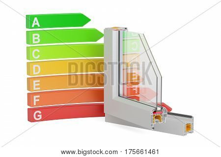 Energy efficiency graph with plastic windows profiles 3D rendering isolated on white background