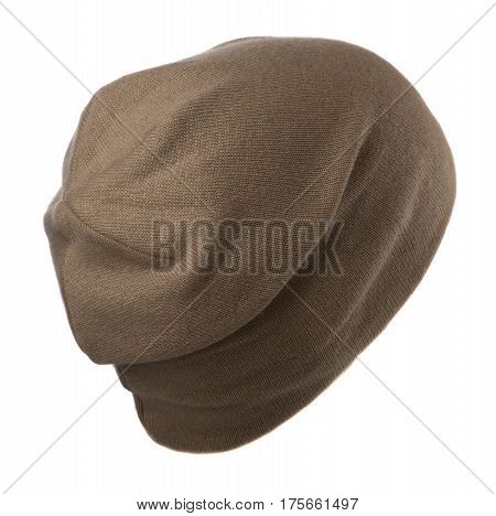 Hat Isolated On White Background .knitted Hat .brown Hat