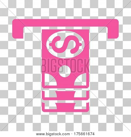 Banknotes Withdraw icon. Vector illustration style is flat iconic symbol, pink color, transparent background. Designed for web and software interfaces.