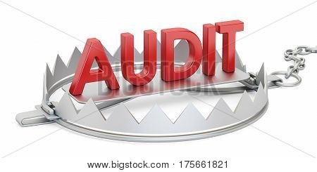 trap with audit inscription 3D rendering isolated on white background
