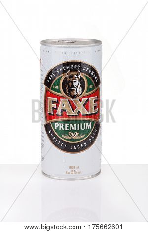 ZAGREB, CROATIA - MARCH 2, 2017: Faxe Premium is a popular lager brewed by Faxe Bryggeri A/S, Danish brewery owned by Royal Unibrew.