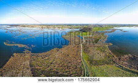 Aerial View of steiro da Tojeira near the Aveiro Lagoon at Murtosa Aveiro Portugal