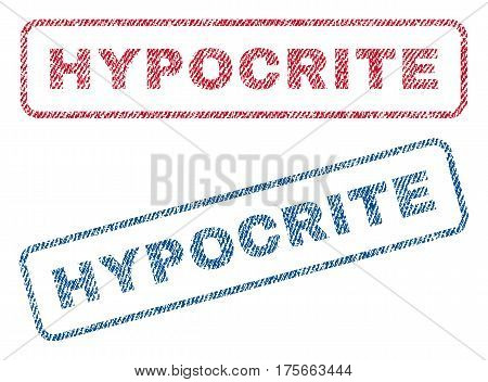 Hypocrite text textile seal stamp watermarks. Blue, red fabric vectorized texture. Vector tag inside rounded rectangular shape. Rubber sticker with fiber textile structure.