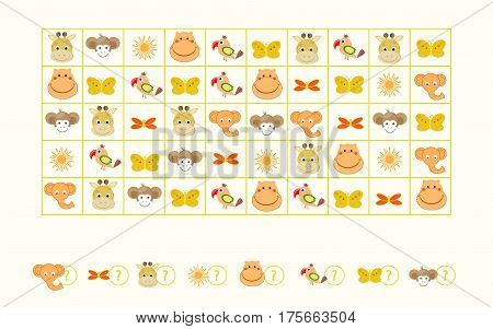 Puzzle game count of beasts vector illustration