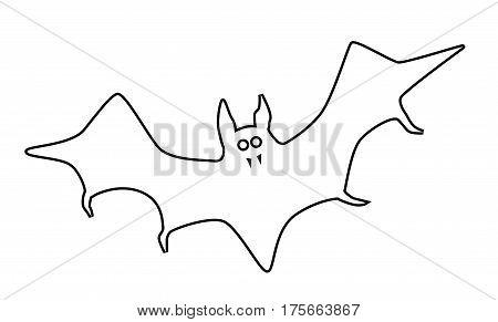 Vampire bat flying in silhouetted outline on white