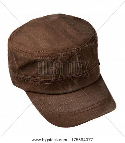 Sports Cap Isolated On A White Background .brown Cap