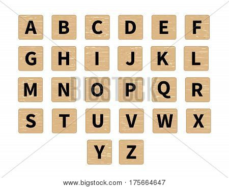 Vector word puzzling game. Alphabet on wooden tiles front view. Black symbols on textured wood background
