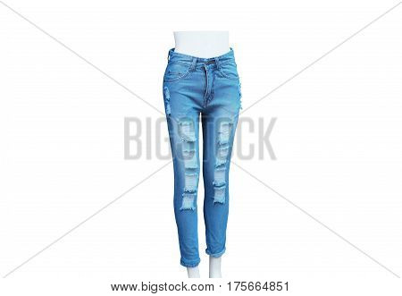 Female ripped skinny jeans isolated on white