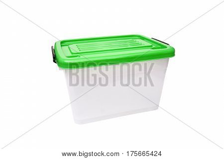 Plastic container storage box with a green lid