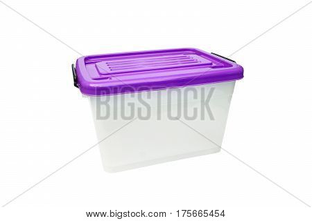 Plastic container storage box with a purple lid