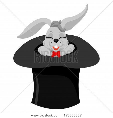 A cute cartoon magicians bunny rabbit coming out of a top hat with a magic wand, vector illustration