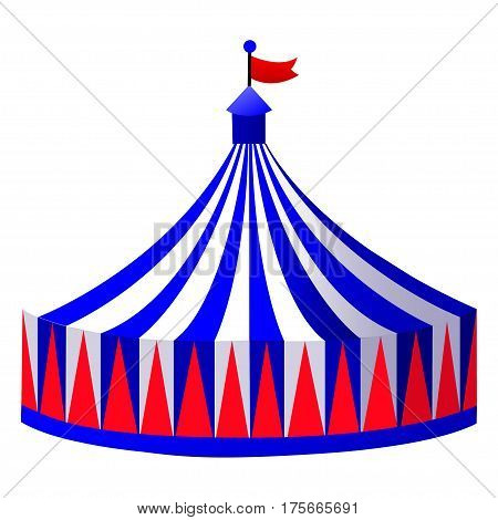 Illustration circus stripe tent isolated on white background - vector illustration
