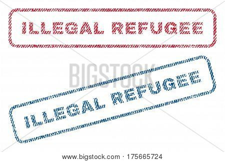 Illegal Refugee text textile seal stamp watermarks. Blue, red fabric vectorized texture. Vector tag inside rounded rectangular shape. Rubber sticker with fiber textile structure.