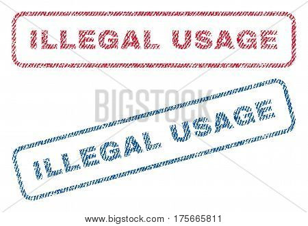Illegal Usage text textile seal stamp watermarks. Blue, red fabric vectorized texture. Vector tag inside rounded rectangular shape. Rubber emblem with fiber textile structure.