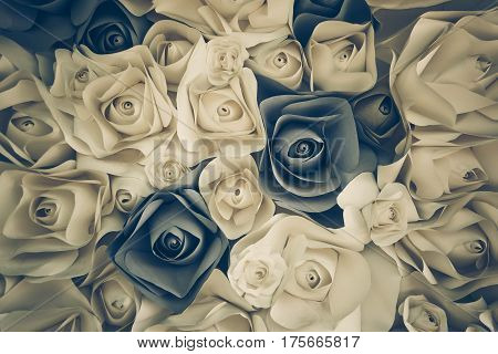 Background of rose flower made of paper in sad tone
