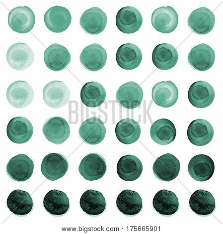 Set of watercolor circles in shades of mint green sea blue aquamarine. Watercolour round elements for logo design banners posters. Sea green circles hand drawn watercolor background