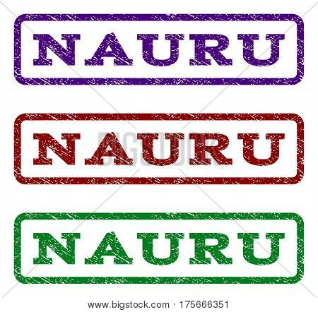 Nauru watermark stamp. Text caption inside rounded rectangle with grunge design style. Vector variants are indigo blue, red, green ink colors. Rubber seal stamp with dust texture.