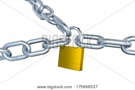 3D illustration of Three Metallic Chains Locked with a Padlock with a white background