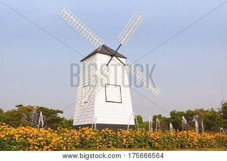 A Wind mill with blue sky background