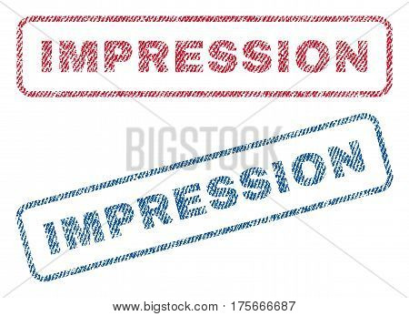 Impression text textile seal stamp watermarks. Blue, red fabric vectorized texture. Vector tag inside rounded rectangular shape. Rubber sign with fiber textile structure.