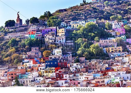 Many Colored Houses El Pipila Statue Guanajuato Mexico. El Pipila is a Mexican Hero from 1810 Mexican War of Independence.