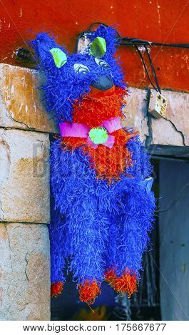 Colorful Red Purple Donkey Pinata Guanajuato Mexico