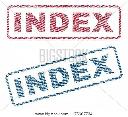 Index text textile seal stamp watermarks. Blue, red fabric vectorized texture. Vector caption inside rounded rectangular banner. Rubber emblem with fiber textile structure.