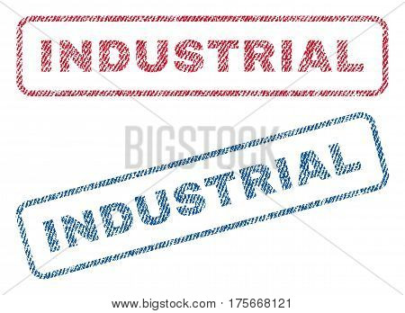 Industrial text textile seal stamp watermarks. Blue, red fabric vectorized texture. Vector tag inside rounded rectangular banner. Rubber sticker with fiber textile structure.